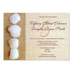 Beach Seashells Burlap Print Wedding Invitations 4.5