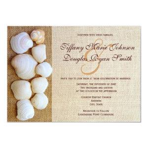 Beach Seashells Burlap Print Wedding Invitations