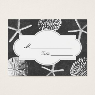 Beach Themed Beach Seashells Chalkboard Wedding Place/Seating Business Card