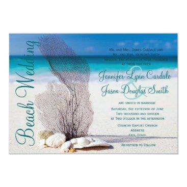 CustomWeddingSets Beach Seashells Destination Wedding Invitations