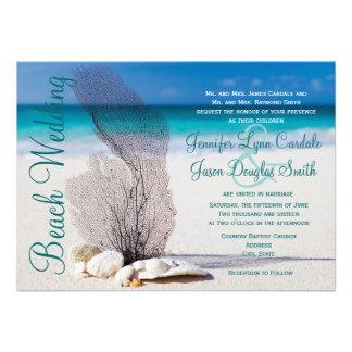 Beach Seashells Destination Wedding Invitations