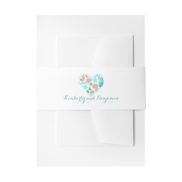 Beach Themed Beach Seashells Heart Modern White Wedding Invitation Belly Band