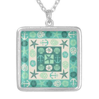 Beach Seashells Nautical Modern Teal Green Silver Plated Necklace