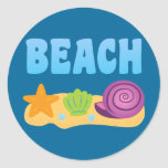 Beach Seashells Round Stickers