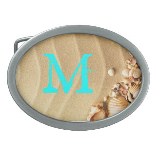 Beach Seashells Sand Hawaii Monogram Belt Buckle