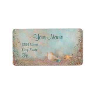 Beach Seashells Wedding Address Label