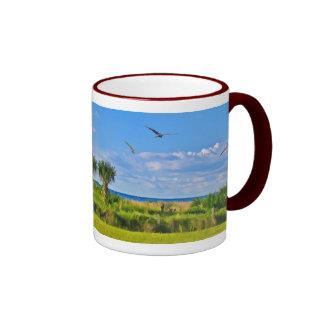 Beach, Seaside, and Birds, Customizable Ringer Mug