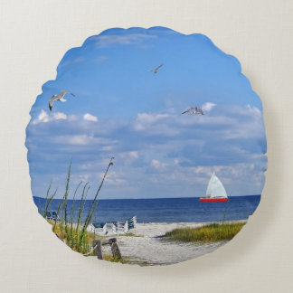 Beach, Seaside, and Birds, Customizable Round Pillow