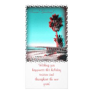 Beach Season s Greeting Card Customized Photo Card