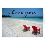 beach seats love greeting cards