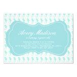 "Beach Shabby Chic Seahorse Invitation party blue 5"" X 7"" Invitation Card"