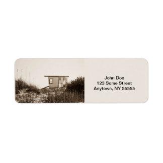Beach Shack in Sepia Custom Return Address Label