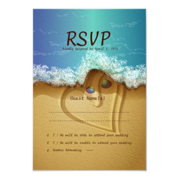 Valentines Themed Beach  Shell Couple  RSVP Wedding Card