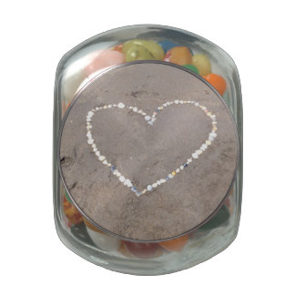 Beach Shell Heart Glass Jars