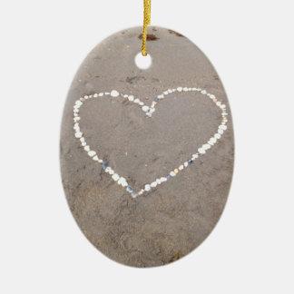 Beach Shell Heart Ceramic Ornament