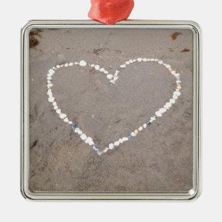 Beach Shell Heart Metal Ornament