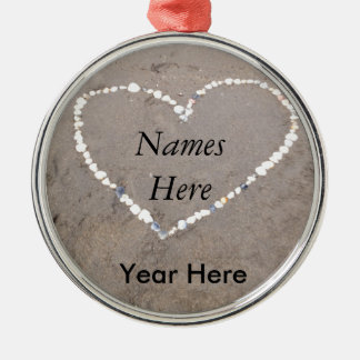 Beach Shell Heart Personalized Metal Ornament