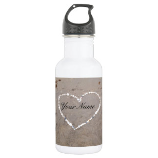 Beach Shell Heart Personalized With Your Name Stainless Steel Water Bottle