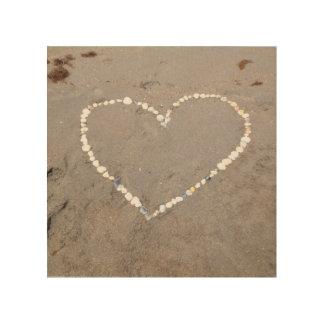 Beach Shell Heart Wood Print