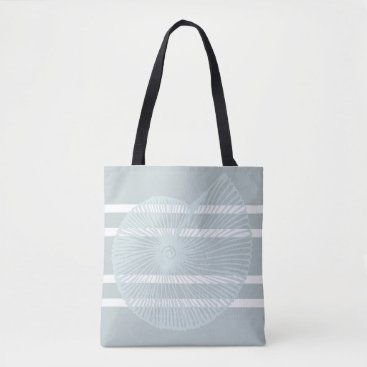 Beach Themed Beach Shell Striped Beach Tote in Grey