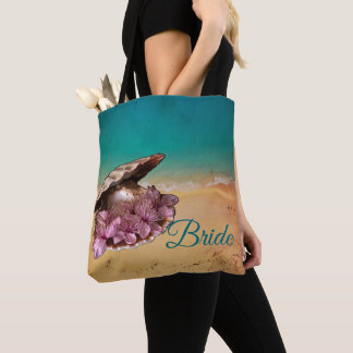 Beach Shell With Flowers On The Beach (Your Text) Tote Bag