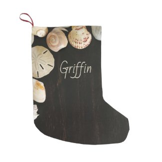 Beach Shells Dark Wood Name Template Small Christmas Stocking
