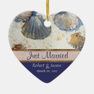Beach Shells Heart Shaped Wedding Favor Ceramic Ornament