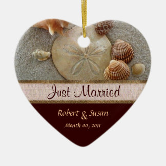 Beach Shells Heart Shaped Wedding Favor Ceramic Ornament