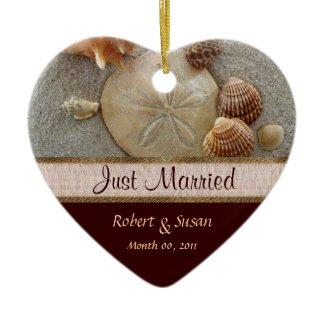 Beach Shells Heart Shaped Wedding Favor ornament