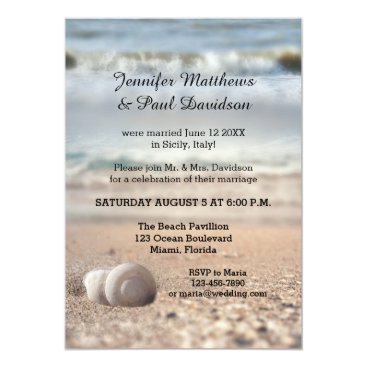 Beach Themed Beach Shells Post Wedding Party Invitation