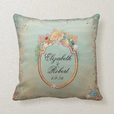Beach Themed Beach, Shells, Starfish Wedding Custom Pillow