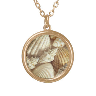 Beach Shells Still Life Gold Plated Necklace