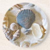 Beach Shells Theme #1 Sandstone Coaster