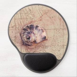 Beach Shells Vintage Florida Map Collage Gel Mouse Pad
