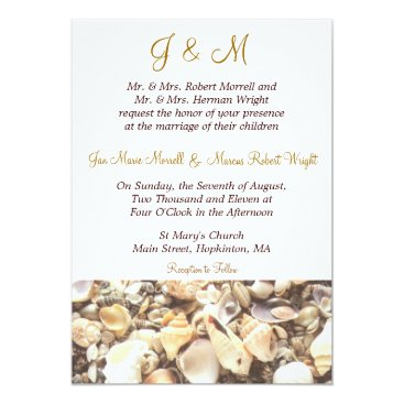 Beach Themed Beach Shells Wedding Invitation
