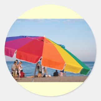 beach shelter classic round sticker
