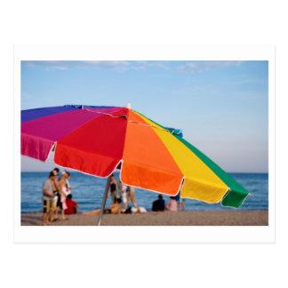 beach shelter postcard