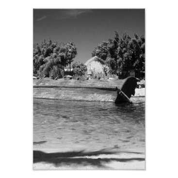 Beach Themed Beach Shipwreck Scene Black And White Photo Poster