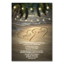 Beach Shore Hearts in Sand Wedding Insert Cards
