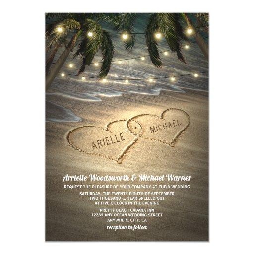 Beach Shore Hearts in the Sand Wedding Invitations