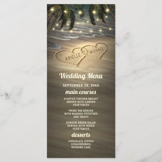 Beach Shore Hearts in the Sand Wedding Menu Cards