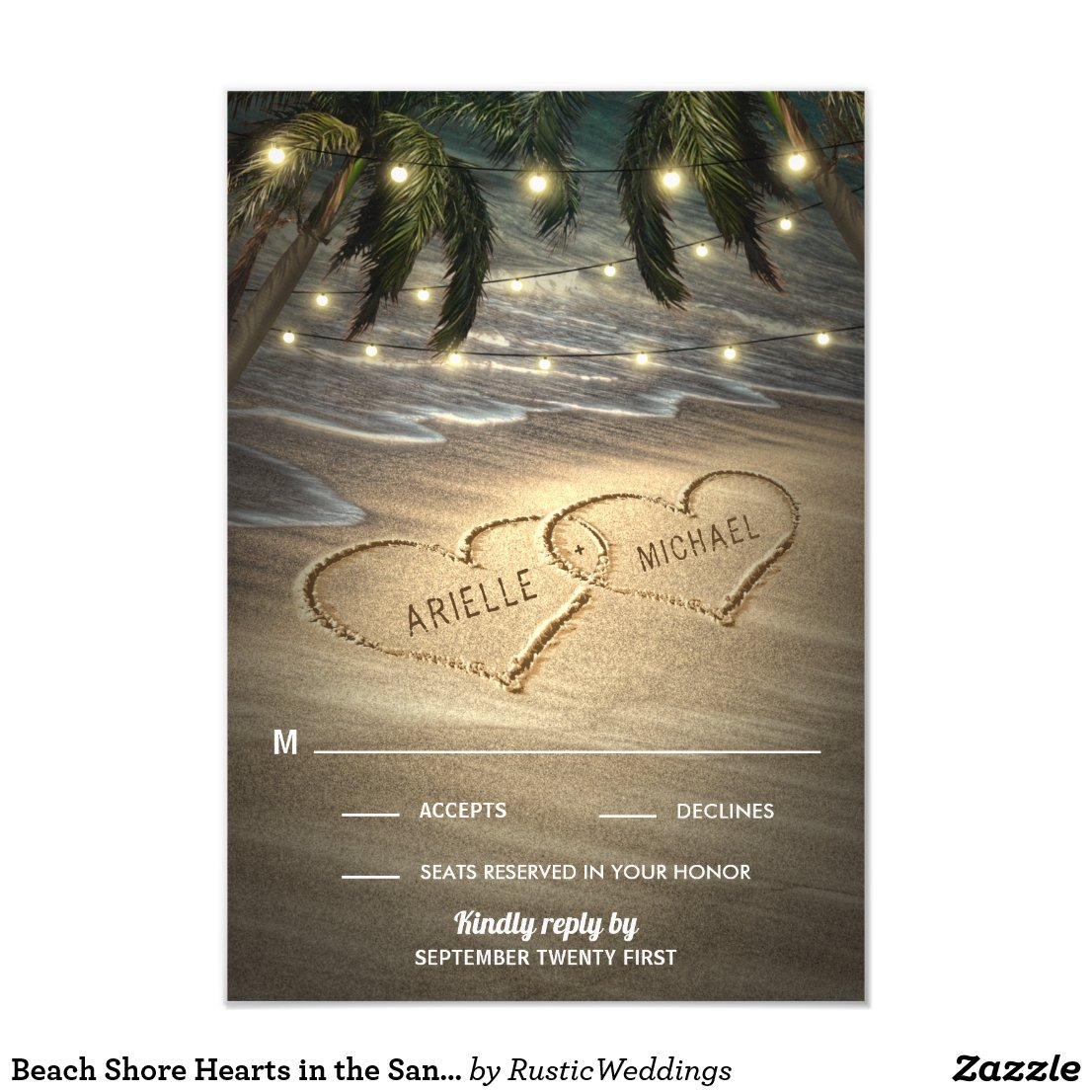 Beach Shore Hearts in the Sand Wedding RSVP Cards