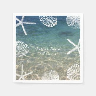 Beach Shore Starfish & Seashells Tropical Wedding Napkin