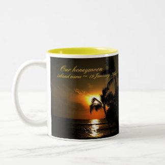 Beach Shoreline Wedding Memento Two-Tone Coffee Mug