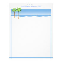 Beach Shoreline with Palm Trees Blue Ocean Custom Letterhead