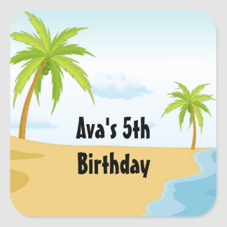 Beach Shower or Birthday Party Favor Labels Square Sticker