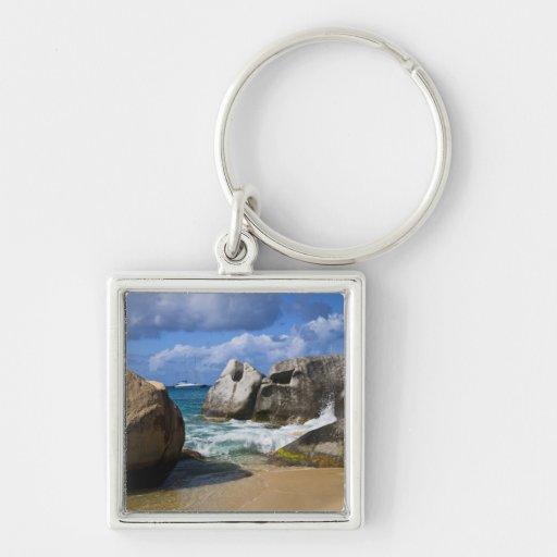 Beach side at Virgin Gorda, British Virgin Silver-Colored Square Keychain
