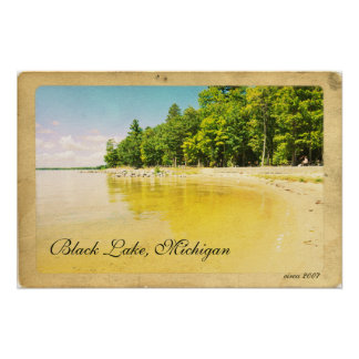 Beach Side Picnic Park on Lake Vintage Style Poste Poster