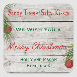 Beach Sign Merry Christmas Sticker