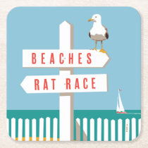 Beach Sign Post Square Paper Coaster